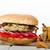 kip · hamburger · mannelijke · handen · selectieve · aandacht · groene - stockfoto © peteer
