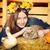 笑みを浮かべて · 少女 · 花輪 · ルックス · グレー · イースター - ストックフォト © petrmalyshev
