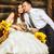 bruidegom · zonnebloem · knoopsgat · bruiloft · steeg · pak - stockfoto © petrmalyshev