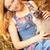 lány · macska · gyönyörű · lány · nyár · nap · nők - stock fotó © PetrMalyshev