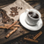 cup of coffee and ingredients on a wooden background stock photo © Phantom1311