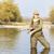женщину · рыбалки · реке · расслабиться · женщины · Постоянный - Сток-фото © phbcz