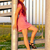 jonge · vrouw · roze · jurk · permanente · trap - stockfoto © phbcz