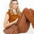 肖像 · 座って · 女性 · ハンドバッグ · 眼鏡 · 青 - ストックフォト © phbcz