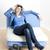 vrouw · sofa · jeans · denim · vrouwen - stockfoto © phbcz