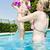 família · grande · fora · relaxante · piscina · mulher · família - foto stock © phbcz