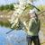vrouw · vissen · vijver · voorjaar · vrouwen · ontspannen - stockfoto © phbcz