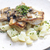pikeperch on butter with mushroom sauce and spring potatoes stock photo © phbcz