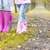 detail of mother and daughter wearing rubber boots in autumnal a stock photo © phbcz