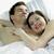glimlachende · vrouw · haren · vriendje · slapen · gelukkig · vrouw - stockfoto © phbcz