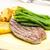 bife · vagens · alho · batatas · prato · faca - foto stock © phbcz