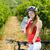 biker with bottle of water in vineyard czech republic stock photo © phbcz