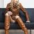 vrouw · bruin · jas · laarzen · vergadering - stockfoto © phbcz