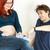 hamile · kadın · gülen · adam · mutlu · ultrason - stok fotoğraf © phbcz