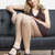 vrouw · zomerschoenen · vergadering · sofa · persoon - stockfoto © phbcz