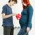 feleség · férj · tart · babacipők · terhes · kicsi - stock fotó © phbcz