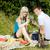 casal · sessão · grama · fruto · cesta · comida - foto stock © phbcz