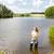 рыбалки · пруд · женщины · молодые · Постоянный - Сток-фото © phbcz
