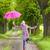 mulher · saltos · caminho · Primavera · floresta · árvores - foto stock © phbcz