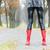 detalle · mujer · rojo · botas · de · goma · mujeres - foto stock © phbcz