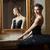 ballerina in black tutu standing front of mirror stock photo © photobac