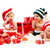 Three babies in xmas costumes playing with gifts stock photo © photobac