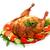 frango · assado · legumes · prato · isolado · branco · carne - foto stock © Photocrea