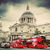 st pauls cathedral in london the uk red buses vintage style stock photo © photocreo