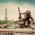 Paris · Fransa · ufuk · çizgisi · Eyfel · Kulesi · karanlık · bulutlar - stok fotoğraf © photocreo