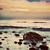 レトロな · 日の出 · ビーチ · レトロスタイル · 水 · 日没 - ストックフォト © photocreo