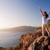 heureux · touristiques · femme · santorin · île · Grèce - photo stock © photocreo