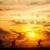 bisiklete · binme · siluet · dağ · yaz · gökyüzü - stok fotoğraf © photocreo