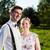 young happy couple in love portrait in summer park stock photo © photocreo