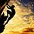 silhueta · homem · escalada · rocha · montanha · pôr · do · sol - foto stock © photocreo