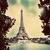 Eyfel · Kulesi · nehir · Paris · Fransa · bağbozumu · kırmızı - stok fotoğraf © photocreo