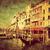vintage art of venice grand canal and gondola small harbor italy stock photo © photocreo
