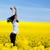 niña · feliz · cielo · amarillo · pradera · salud · deporte - foto stock © photocreo