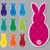 kockás · húsvéti · nyuszi · matricák · vektor · formátum · húsvét - stock fotó © piccola
