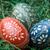 paskalya · yumurtası · üç · el · yapımı · yeşil · saman · seçici · odak - stok fotoğraf © Pietus