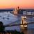 Budapest · cityscape · coucher · du · soleil · chaîne · pont - photo stock © pixachi