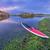 dusk over lake with paddleboard stock photo © pixelsaway