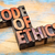 code of ethics bannert in wood type stock photo © pixelsaway