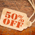 fifty percent off price tag stock photo © pixelsaway