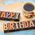 happy birthday in wood type with coffee stock photo © pixelsaway