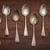 oude · zilver · lepels · houten · tafel · voedsel - stockfoto © pixelsaway