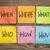 preguntas · la · toma · de · decisiones · incertidumbre · colorido · notas · adhesivas - foto stock © pixelsaway