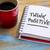 pensar · positivo · nota · café · inspirado · letra - foto stock © pixelsaway