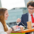 eladó · csapat · kint · asztal · fiatal · igazgató - stock fotó © pixinoo
