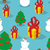 snowman and christmas tree seamless pattern holiday background stock photo © popaukropa