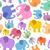 colored elephant seamless pattern cute animals background beas stock photo © popaukropa